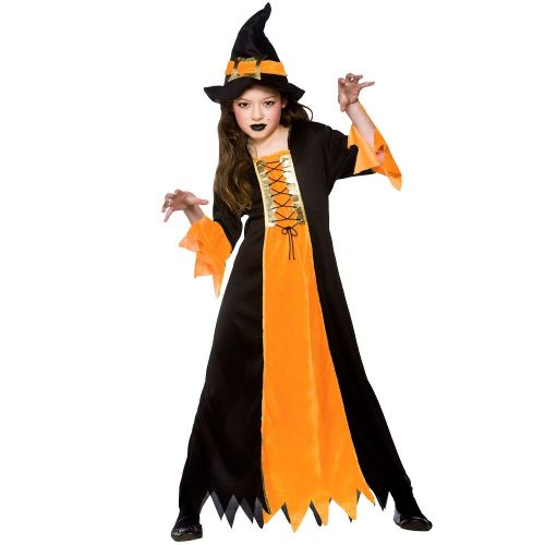 Girls Cauldron Witch Halloween Costume for Fancy Dress Childrens Kids Childs